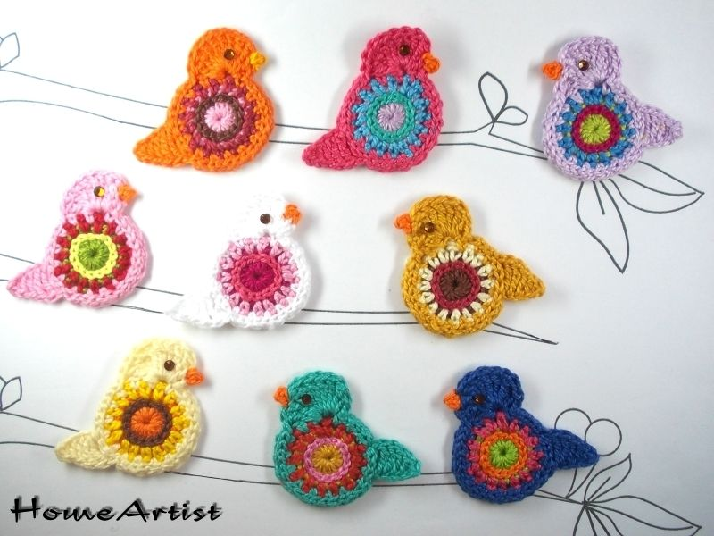 Crochet Applique Embellishments BIRD - HomeArtist - Crocheted