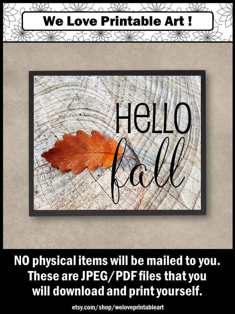 Hello Fall Sign, Autumn Home Decor, Printable Wall Art Print Poster, INSTANT DOWNLOAD, Autumn Decor Sign, Fall Gifts for Friends #hellofall