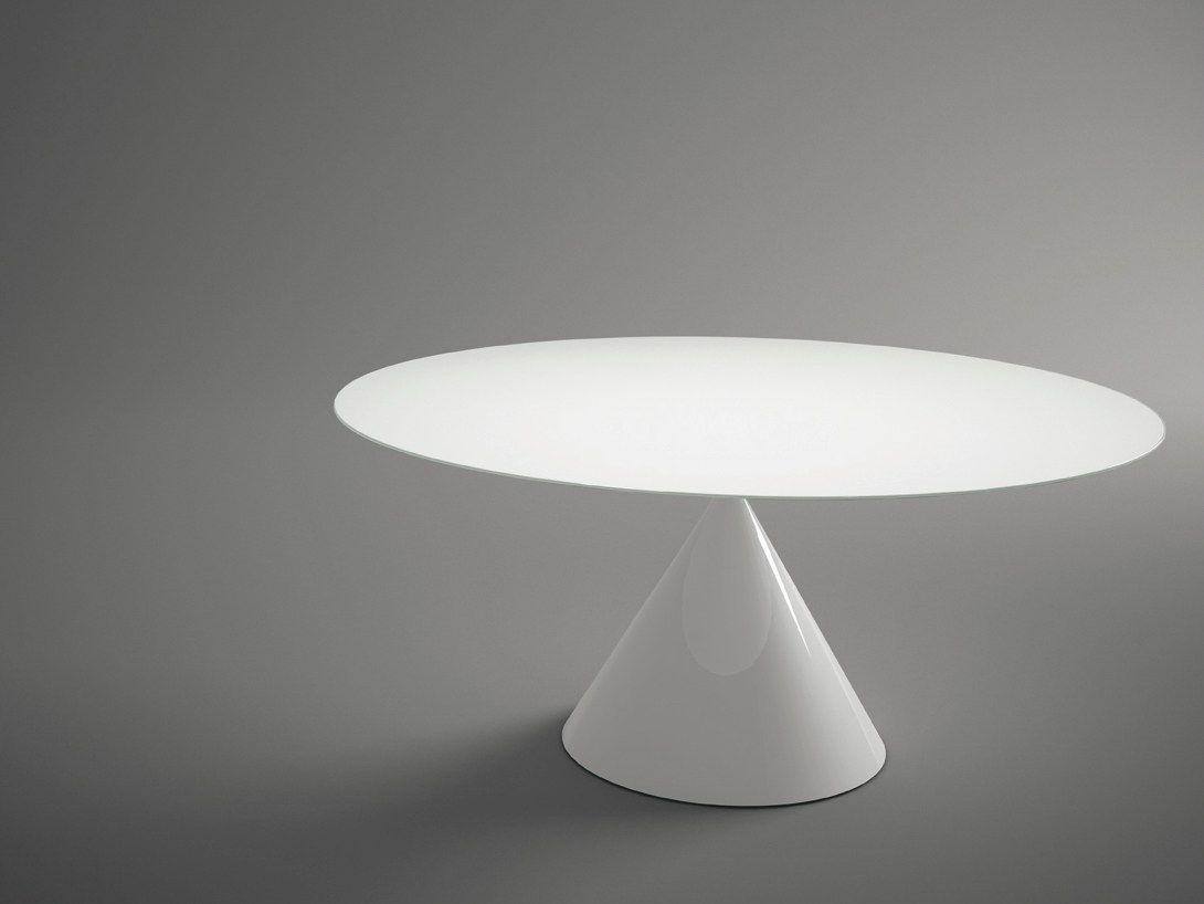 Tavolo rotondo con piano in cristallo temperato CLAY | Tavolo ...