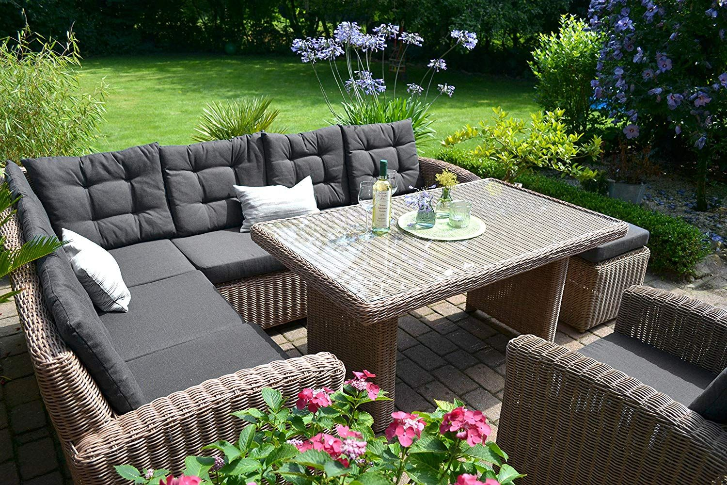 Amazon Gartenmöbel Rattan Amazon De Bomey Rattan Lounge Set I Gartenmöbel Set Manhattan 4