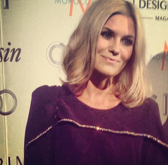 Singer Pernille Rosendahl wearing By Malene Birger dress from Christmas collection 2013.
