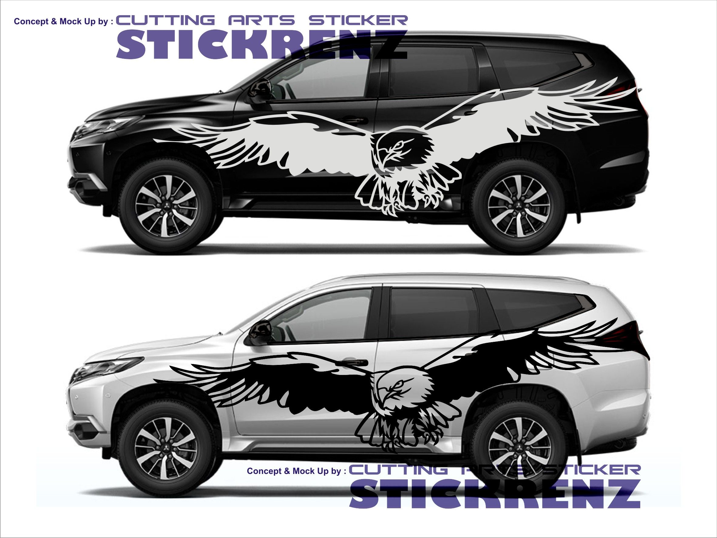Car custom side cutting sticker concept pajero 001