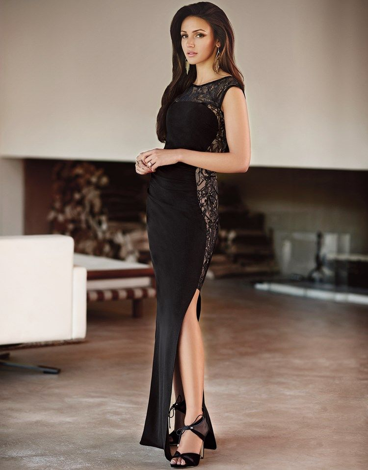 f206e3e192b22 Lipsy Love Michelle Keegan lace panel maxi dress in black. Featuring a side  leg split