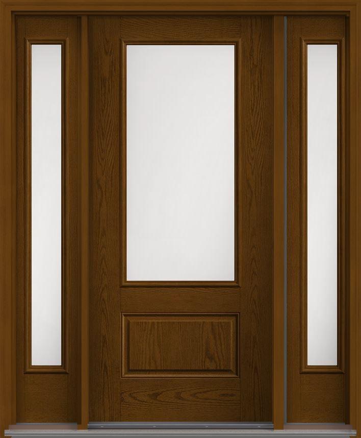 Satin Etch 3 4 Lite 1 Panel Oak Fiberglass Exterior Door 2 Sides Exterior Doors Transitional Doors French Doors Patio