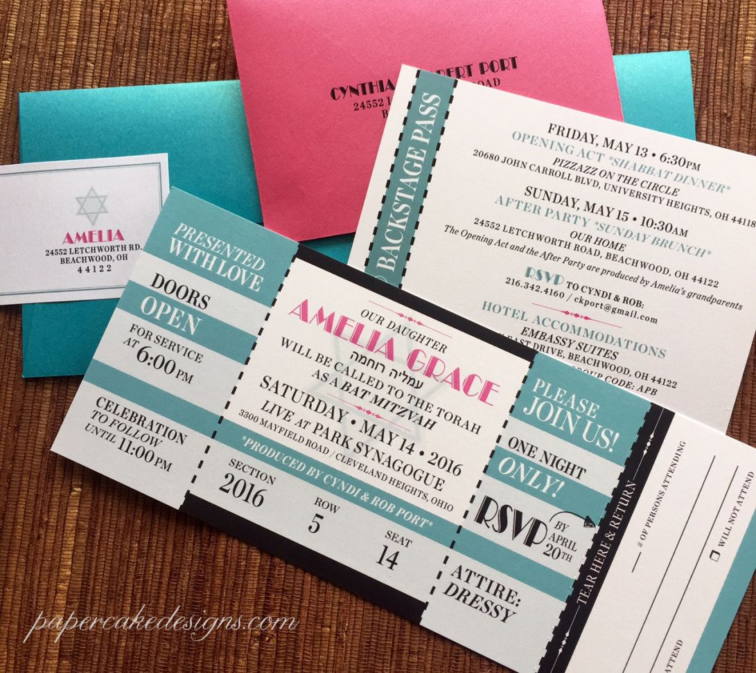 bat mitzvah party invite large concert ticket with tear off