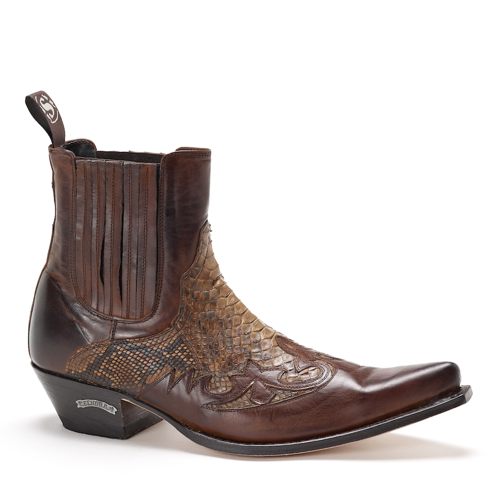 Mens Sendra 9396 Brown Snakeskin Ankle Boot | Ankle boots