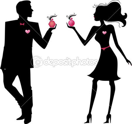 Silhouette of man and woman with parfums — Stockvectorbeeld #5016059