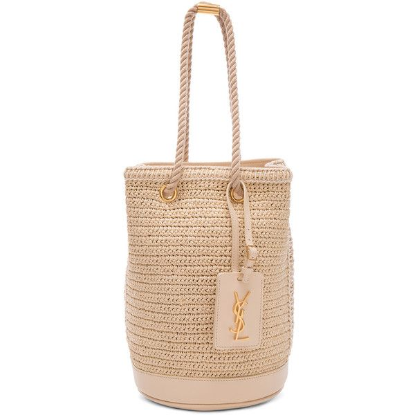 Saint Laurent Sea Small Rope Bucket Bag (3.458.880 COP) ❤ liked on Polyvore featuring bags, handbags, shoulder bags, drawstring purse, woven purse, yves saint laurent purse, beige handbags and hand bags