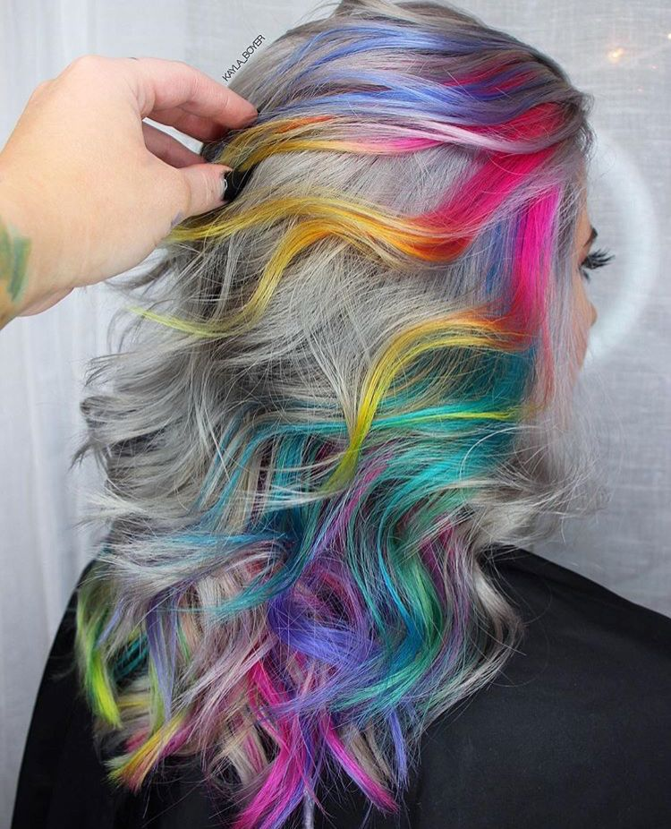 Magical Rainbow Shimmer Hair Silver Base Colour Face Framing Multiple Colour Melt Lights In Hot Pink Gold Yel Hair Styles Light Hair Color Cool Hair Color