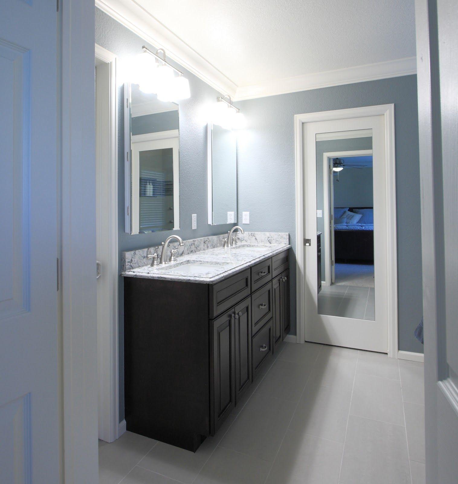 Bathroom pocket door with mirror