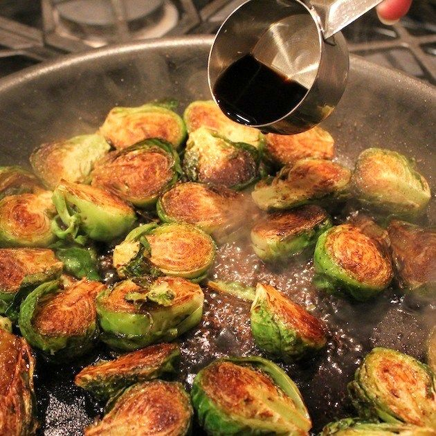 Balsamic Glazed Brussels Sprouts with balsamic