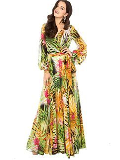 V neck A-line Long Sleeve Print Bohemian Dress