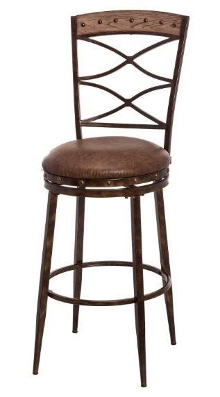 Industrial Swivel Bar Stool Dining Leather High Chair Kitchen Furniture Rustic Hillsdale Transitionalindustria Rustic Bar Stools Bar Stools Swivel Bar Stools