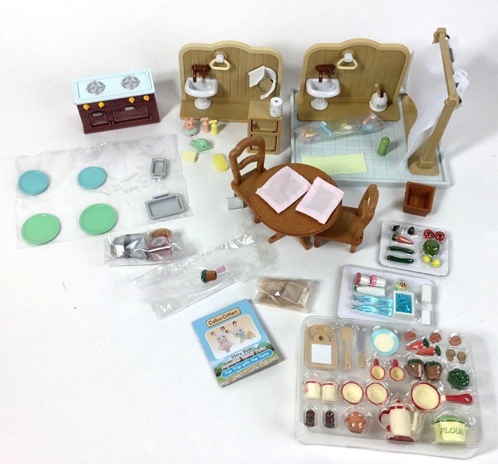 Calico Critters Bundle Lot Accessories Furniture Kitchen Bathroom - Calico critters bathroom