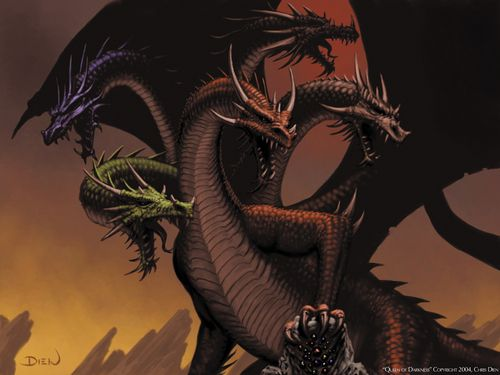 Dragons Wallpaper Five Headed Dragon Fantasy Dragon Hydra Monster