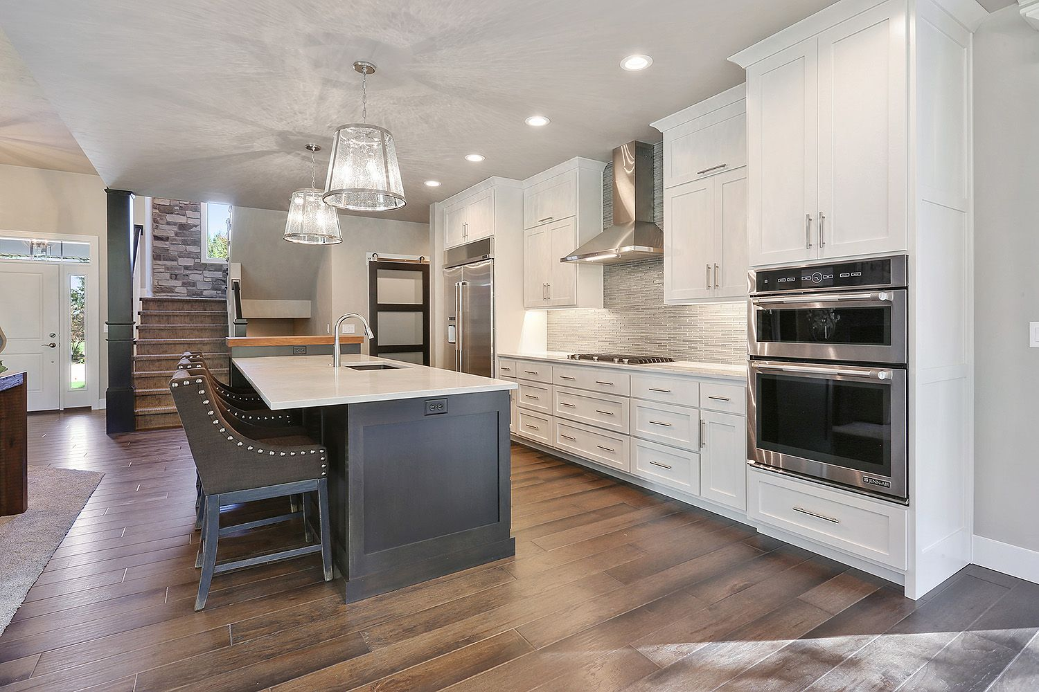 white painted kitchen cabinets to the ceiling with a dark stained island kitchen kitchen on kitchen cabinets to the ceiling id=36811