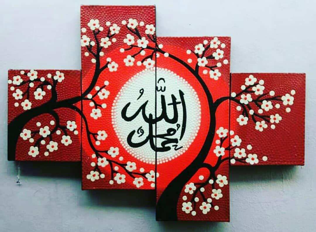 Lukisan Kaligrafi Bunga Sakura ㅤㅤ LUKISAN 100 ASLI BUATAN