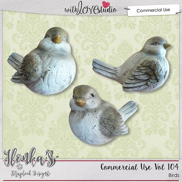 Commercial Use Vol 104 from Ilonka's Scrapbook Designs. These cute extracted ceramic birds are a great addition to a your digital scrapbooking designer stash.
