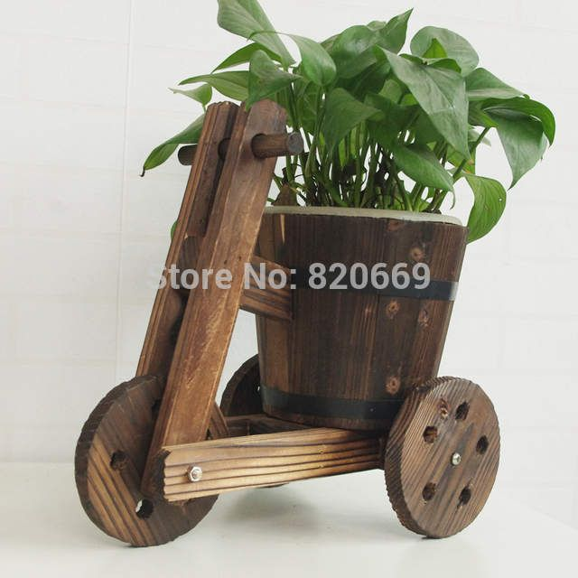 Rustic Small Barrel Primaries Small Wooden Ornamental Flower Pot Flower Basket Flower Bowyer For bicycle shape Home Decoration