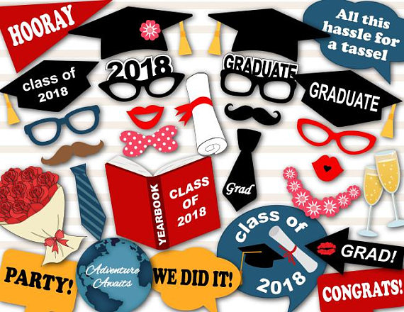 picture relating to Printable Graduation Photo Booth Props called Printable 2018 Commencement Picture Booth Props, Commencement