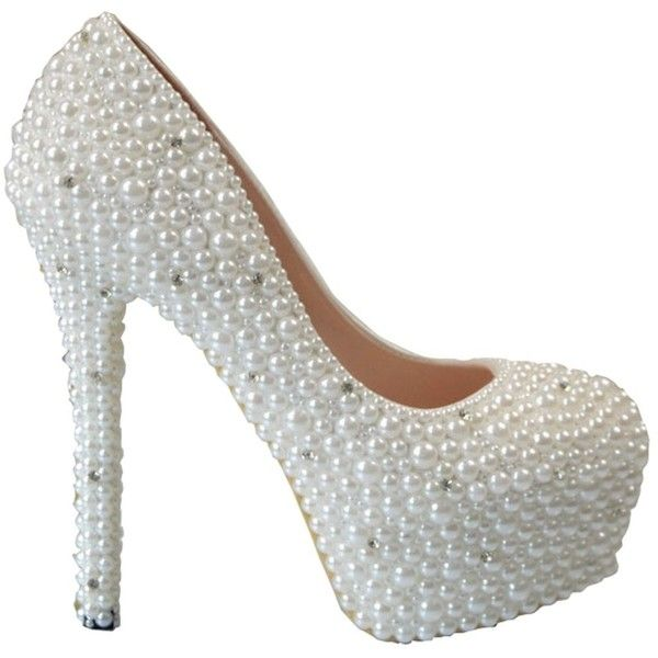 Superior TDA Womenu0027s Bridal Pearl Wedding Party Dress Stiletto Pumps (2.810 RUB) ❤  Liked On