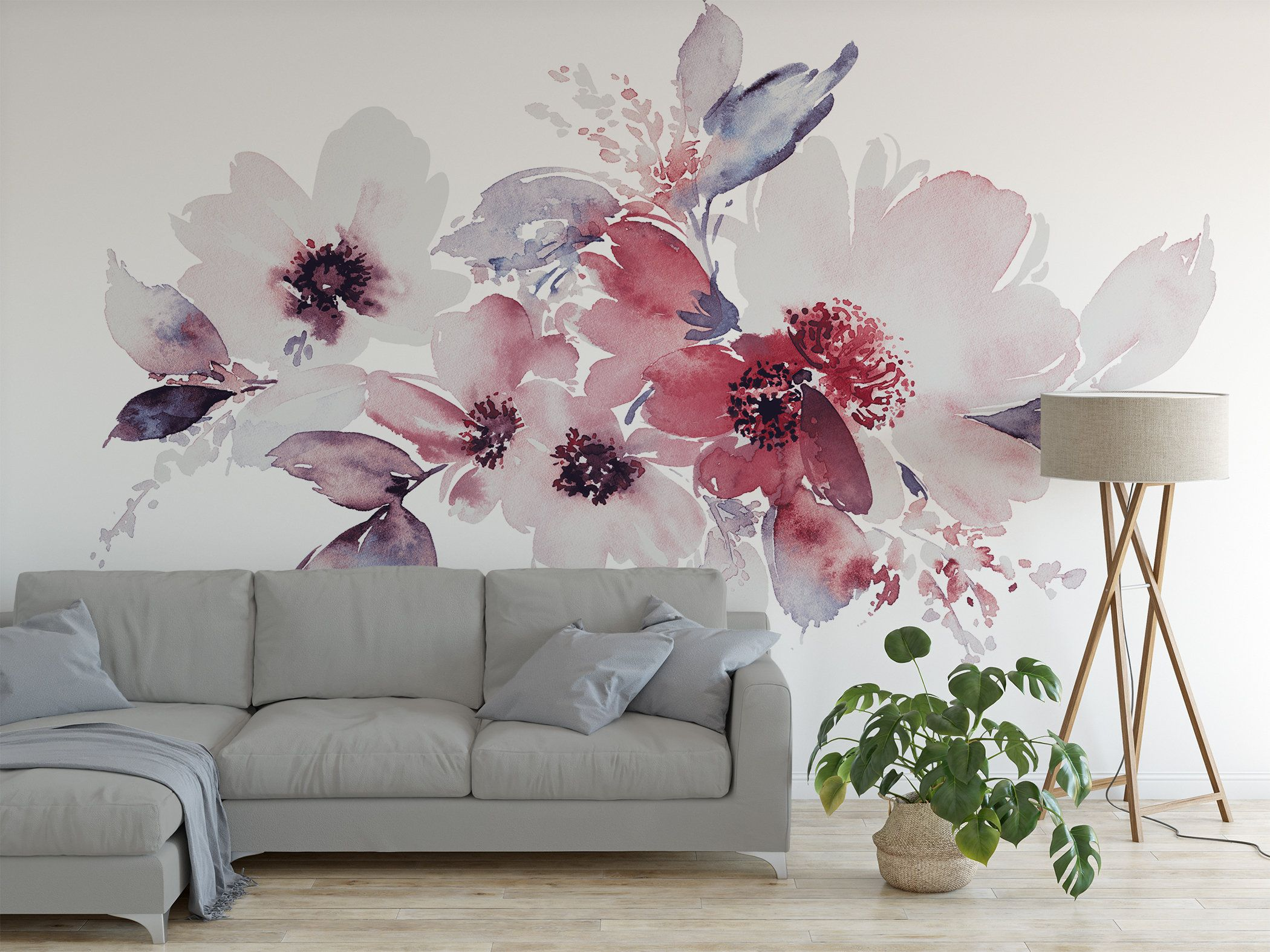 High Quality Peel And Stick Removable Self Adhesive Wallpaper Etsy Flower Mural Nursery Mural Decal Wall Art