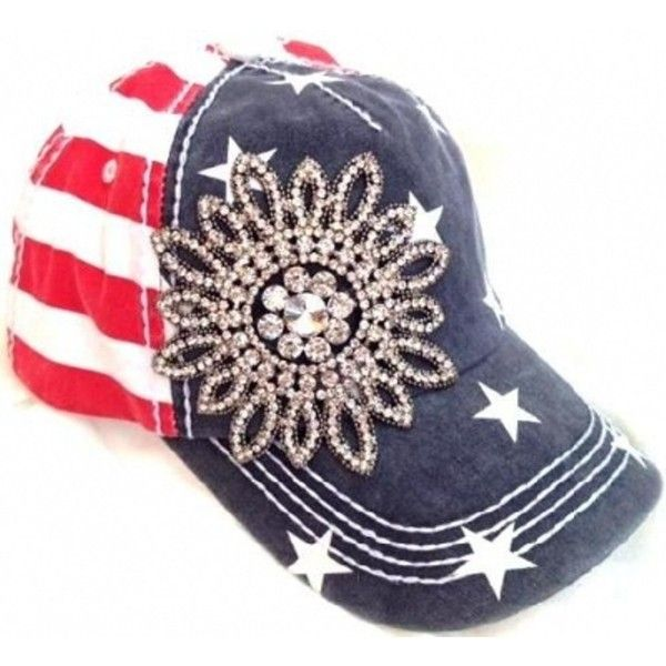 Womens Olive Pique American Flag Patriotic Rhinestone Flower Cap ( 40)  found on Polyvore 9a952c315e
