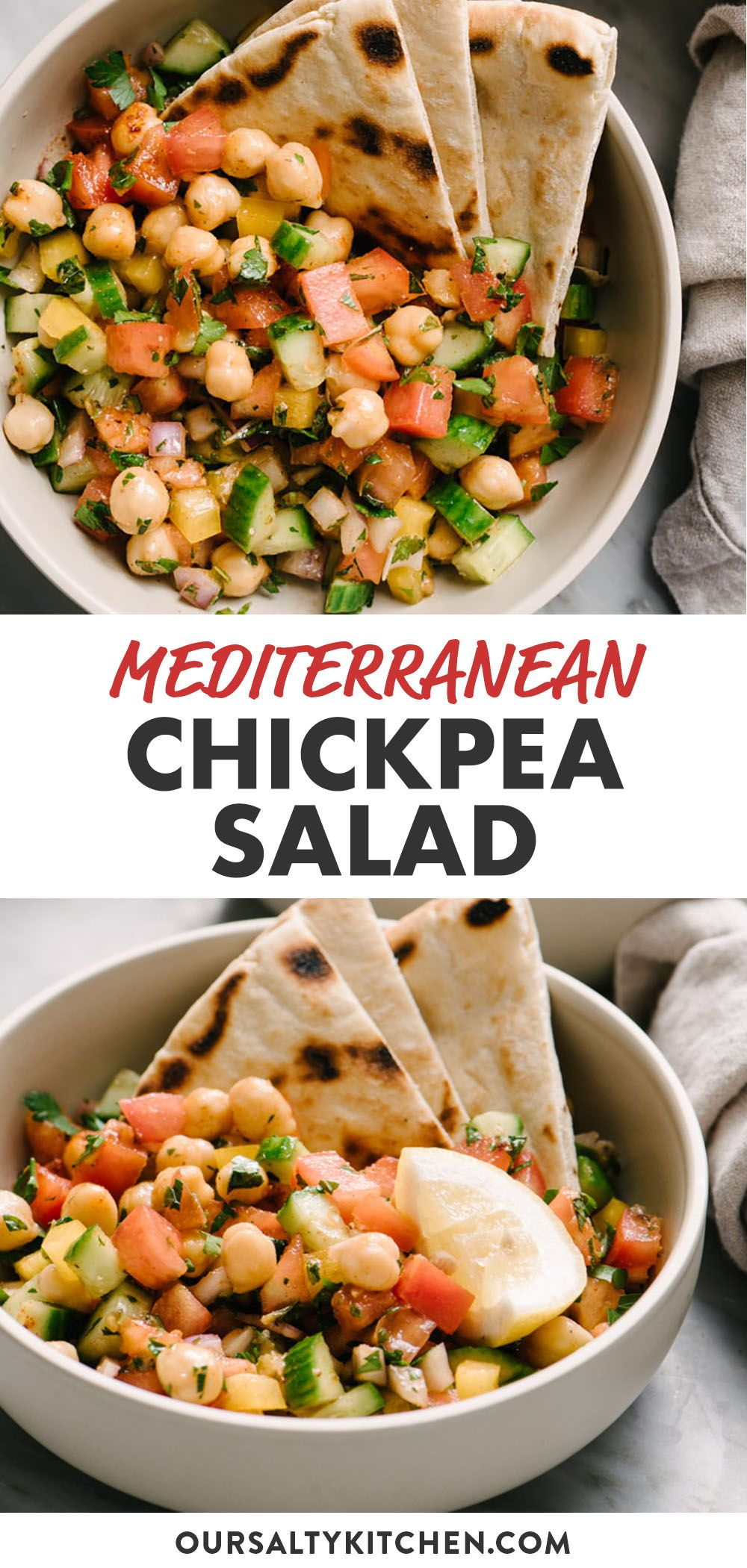 This quick and easy Mediterranean Chickpea Salad has it all - punchy flavor, bright colors, loads of healthy nutrients, and enough fiber and protein to keep you full and fueled for hours. It's an incredibly flexible recipe that's perfect for meal prep, a fast weeknight dinner, or an impressive potluck or picnic offering. Naturally vegan and gluten free, this simple salad will become a summer must-make! #vegan #sidedish #salads #chickpeas #glutenfree