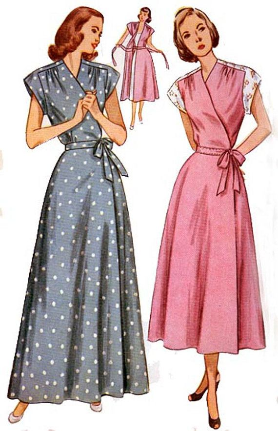 Vintage 40s Simplicity 2460 Wrap Around Housecoat by sandritocat ... 4bd257057
