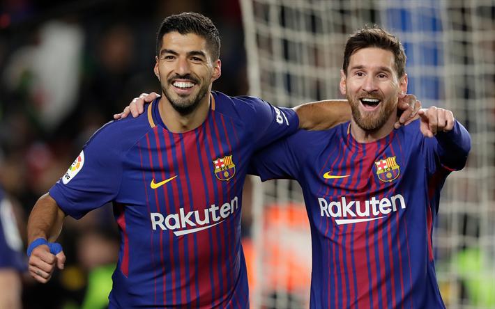 Download wallpapers Lionel Messi, Luis Suarez, Barcelona FC, La Liga, Spain, football stars, 4k