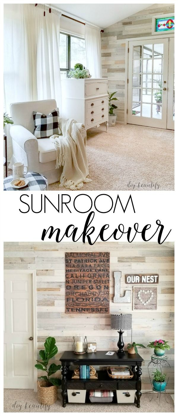Sunroom Reveal - Light and Bright | White wood, Sunroom and Wood walls