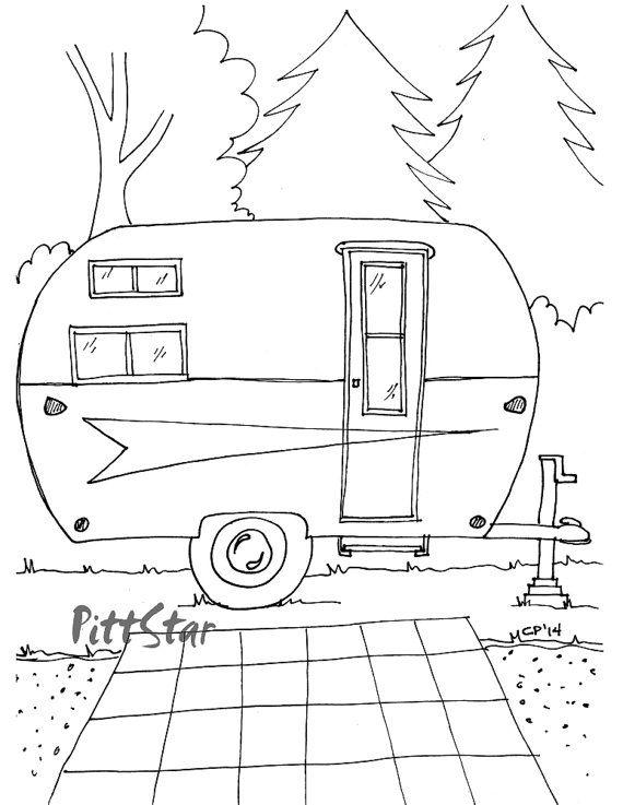 camper coloring pages Instant Download   Vintage Arrow Travel Trailer   Printable Adult  camper coloring pages
