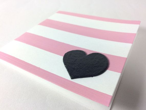 Pink And Black Striped  Heart Valentine's by HelloPaperCollection