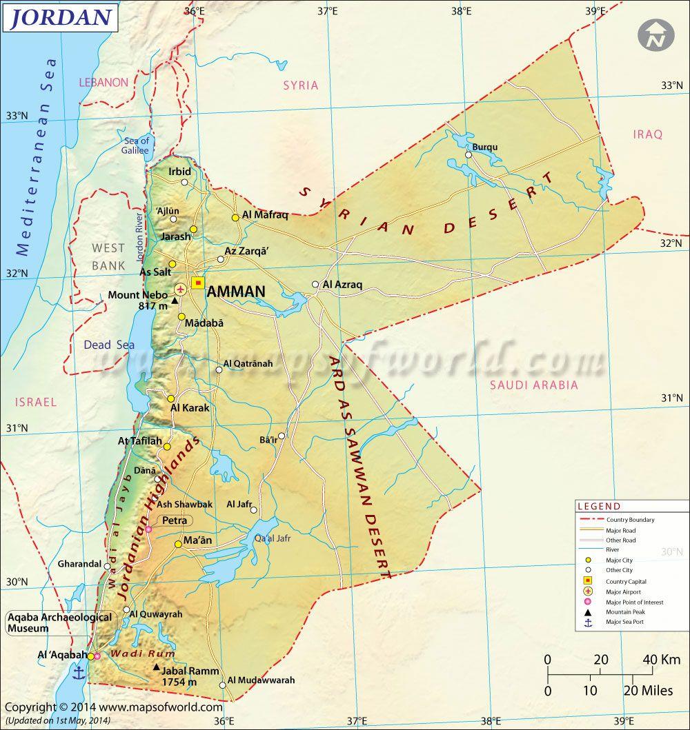 Jordan Map Maps Pinterest Rivers Middle East And Jerash - Map of jordan