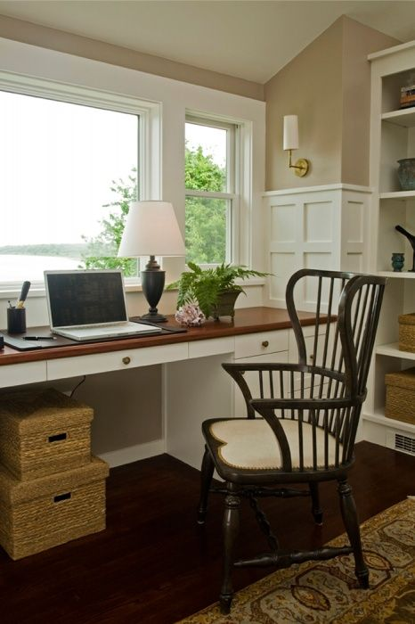 Seaside Home   Coastal Home   Office   Study   Built In Desk   Built In  Shelves   High Chair Rail With Recessed Panels   Custom Millwork   Custom  Trim ...