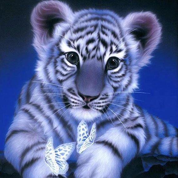 5d Diy Diamond Painting Tiger Mosaic Cross Stitch Full Square Drill 3d Diamond Painting Kit Sticker Home Decoration Gifts Cute Animals Cute Tigers Animals