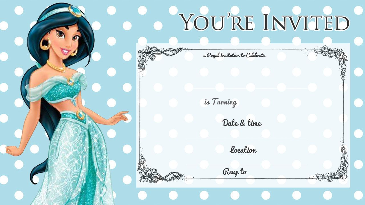 Free Printable Princess Jasmine Disney Birthday Invitation