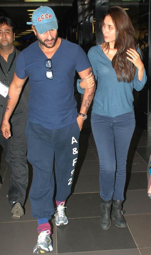 Saif Ali Khan In A New Look And Tattoos With Kareena Photos Bollywood Fashion Kareena Kapoor Pregnant Dash Clothes