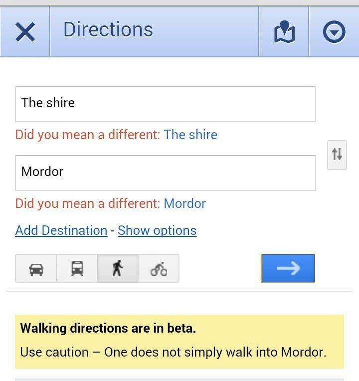 One does simply walk into mordor via google maps