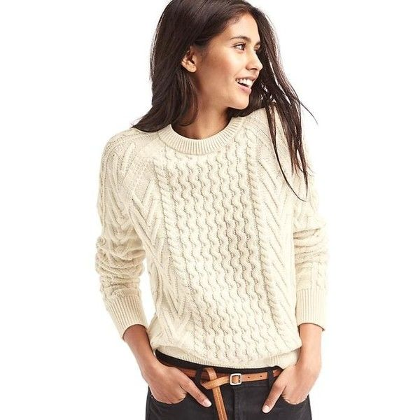 Gap Women Wavy Cable Knit Sweater ($60) ❤ liked on Polyvore ...