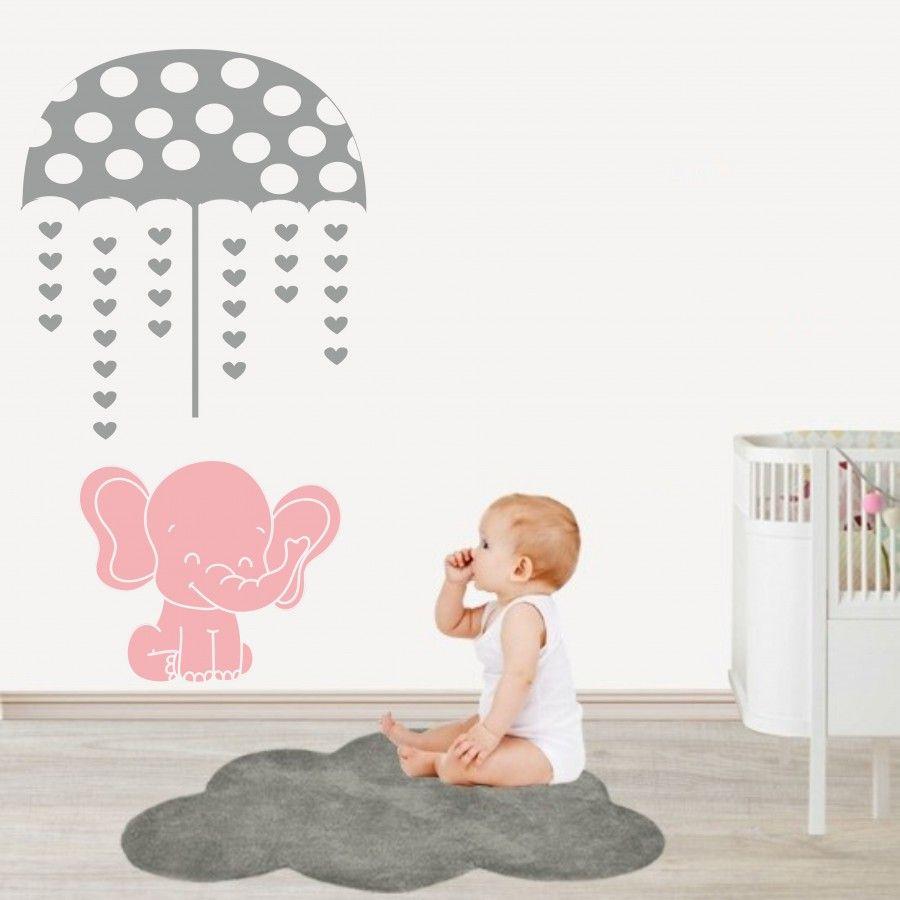 Wandtattoo Kinderzimmer | Elefant mit einem Regenschirm NR171 ...