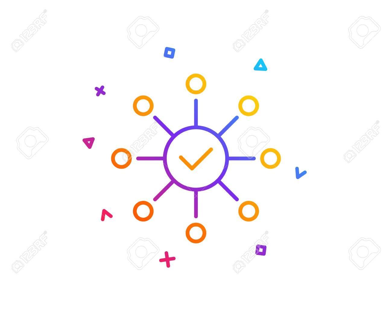 Survey Check Line Icon Correct Answer Sign Gradient Line Button