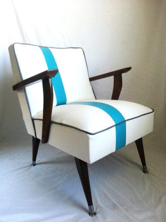 Mid Century Modern Chair White Vinyl Furniture