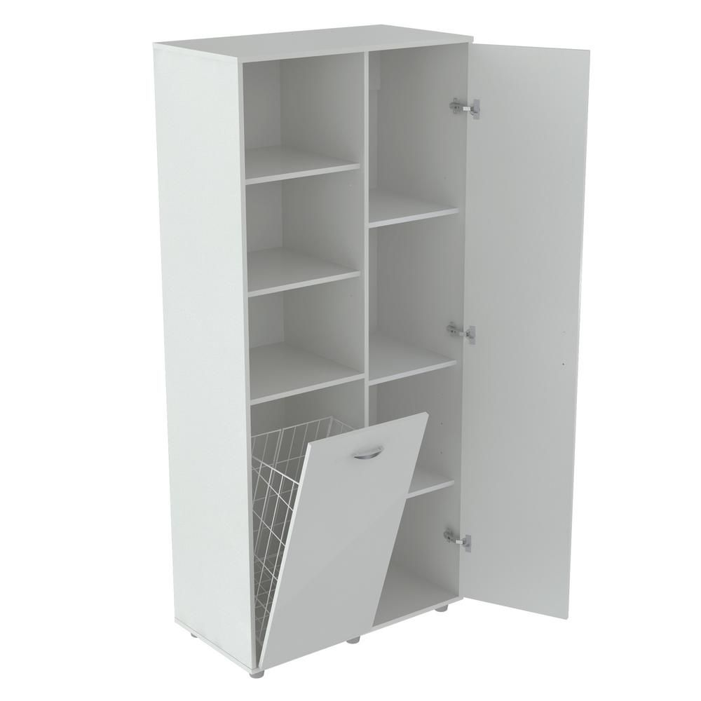 Inval White Utility Storage Cabinet With Tilt Bin Gm 0440 Utility Storage Cabinet Adjustable Shelving Wood Storage Cabinets