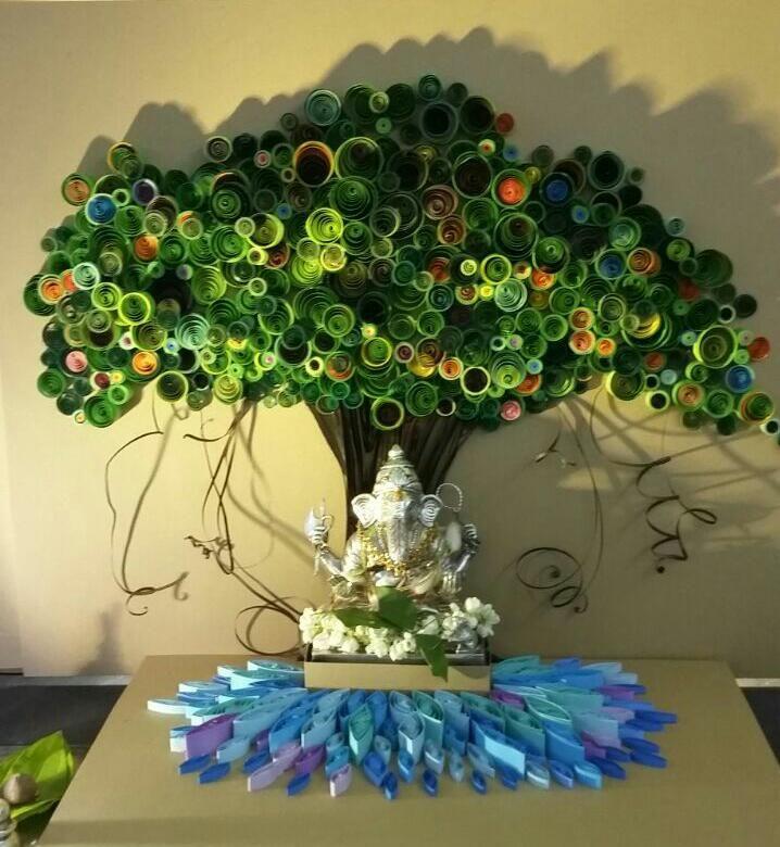 Paper Quilling Ganapati Decoration idea from Facebook