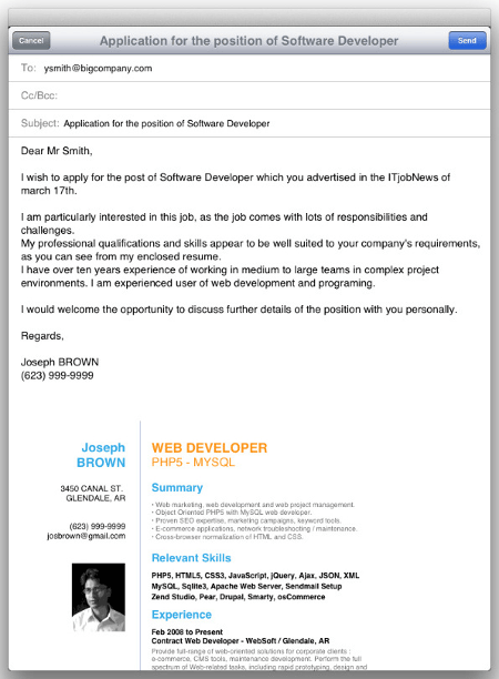 the email cover letter
