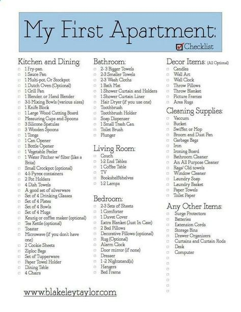 Great checklist for college apartment move-in! | Apartment ...