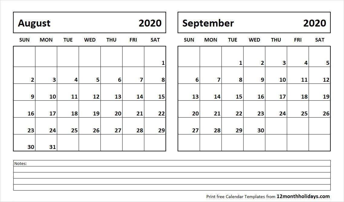 Calendar August September 2020 August and September 2020 Calendar | 2018 Calendar | 2018 calendar