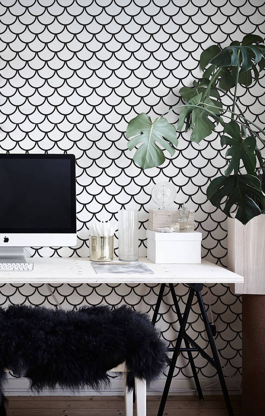 Fish scales removable wallpaper in apartment decor