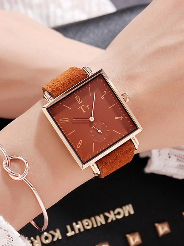 Big Dial Square Pattern Transparent Womens Watch